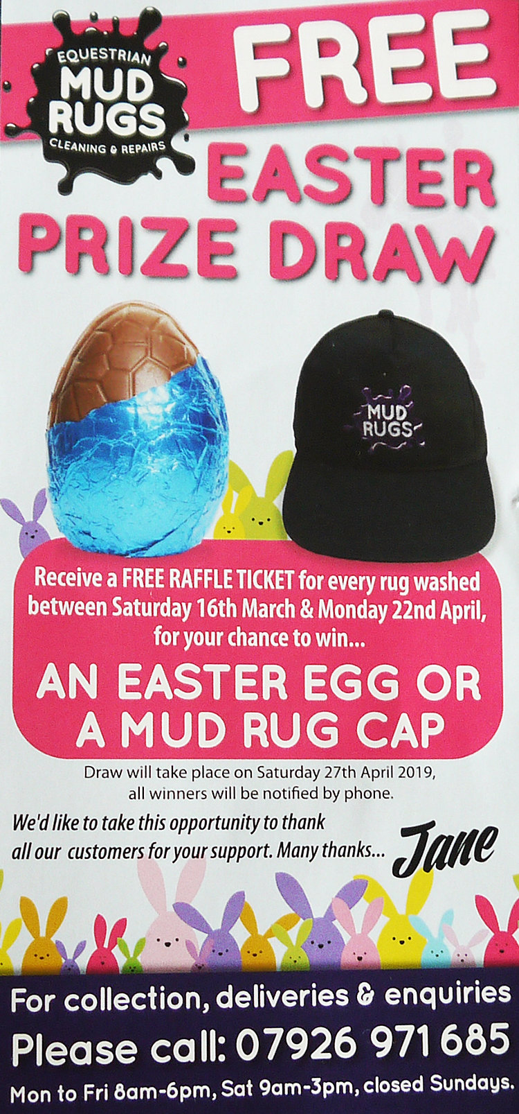 Mud Rugs Easter Promotion 2019